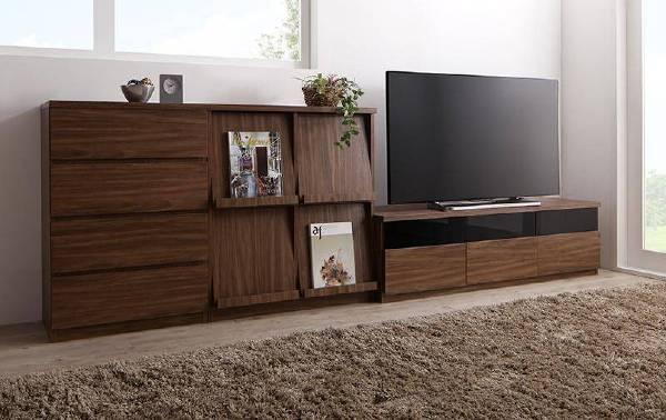 (UL)リビングボードが選べるテレビ台シリーズ TV-line テレビライン 3点セット(テレビボード+チェスト+フラップチェスト) 幅140(UL1)
