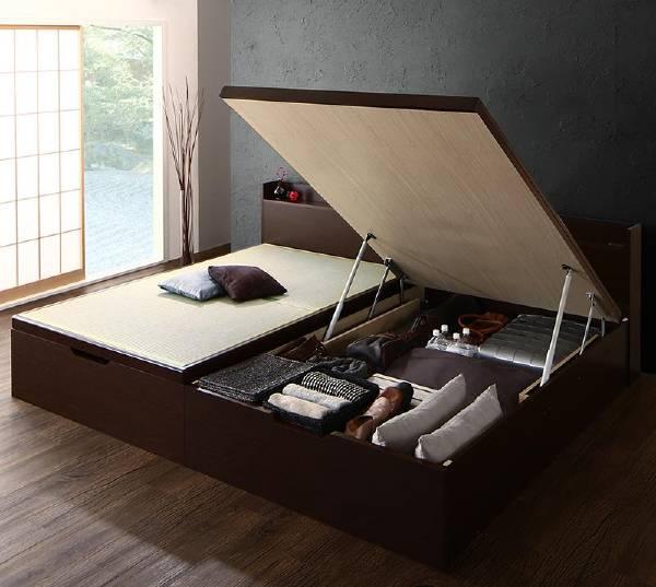 (UL)シンプルモダンデザイン大容量収納日本製棚付きガス圧式跳ね上げ畳ベッド 結葉 ユイハ シングル 深さラージ(UL1)