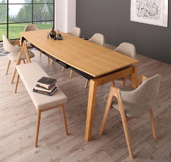 (UL) 新生活応援 ダイニングテーブル 北欧デザイン スライド伸縮ダイニング MALIA マリア 8点セット(テーブル+チェア6脚+ベンチ1脚) W140-240(UL1)