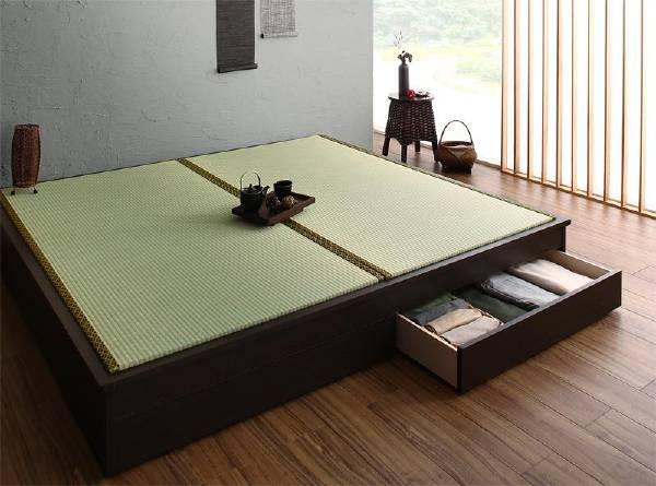 (UL) お客様組立 大型ベッドサイズの引出収納付き 選べる畳の和モダンデザイン小上がり 夢水花 ユメミハナ い草畳 ダブル(UL1)