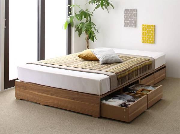 (UL) 布団で寝られる大容量収納ベッド Semper センペール 薄型スタンダードポケットコイルマットレス付き 引出し4杯 ロータイプ セミダブル(UL1)