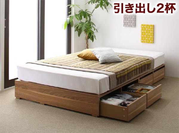 (UL) 布団で寝られる大容量収納ベッド Semper センペール 薄型プレミアムポケットコイルマットレス付き 引出し2杯 ロータイプ シングル(UL1)