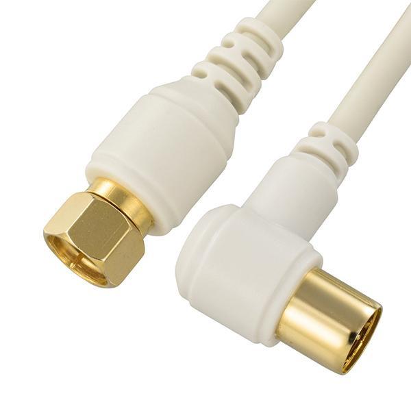 すっきりスリムで壁や床にぴったりフィット 4K対応 テレビ接続ケーブル スリム まとめる 配線 収納 コード OHM 3m 高品質 2C F-L型 ANT-C3S2FL-W TV接続ケーブル パーツ TV用 すっきり 送料無料(一部地域を除く) 4K8K対応