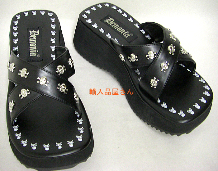d29b01f1d2c DEMONIA by Pleaser (demonia pleaser) Gothic and death metal systems! Skull  with silver studs and sandals! Heel height 7 cm (Flip-05-BLKPU)