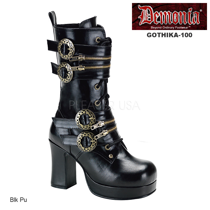 送料無料 DEMONIA by Pleaser (デモニア プリーザー) スチームパンク ブーツ 厚底 ショートブーツ つや消し黒(GOTHIKA-100)