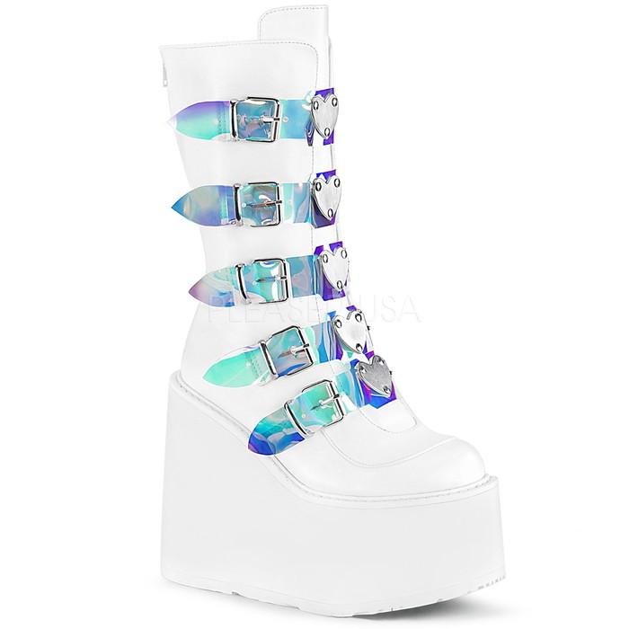 送料無料 取寄せ 厚底 ニーハイブーツ DEMONIA Pleaser デモニア プリーザー フロント5連バックルベルト バックジッパー ウェッジソール つや消し白 ホワイト レディース 大きいサイズ ゴスロリ パンクロック コスプレ 衣装 ライブ 靴 SWING-230 SWI230/WVL