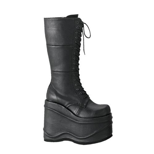 取寄せ 送料無料 DEMONIA by Pleaser (デモニア プリーザー) レディース 厚底ロングブーツ ニーハイブーツ ウェッジソール ファスナー付き 編み上げ(レースアップ) ゴスロリ パンク ゴスパンク系 靴 大きいサイズ WAVE-302
