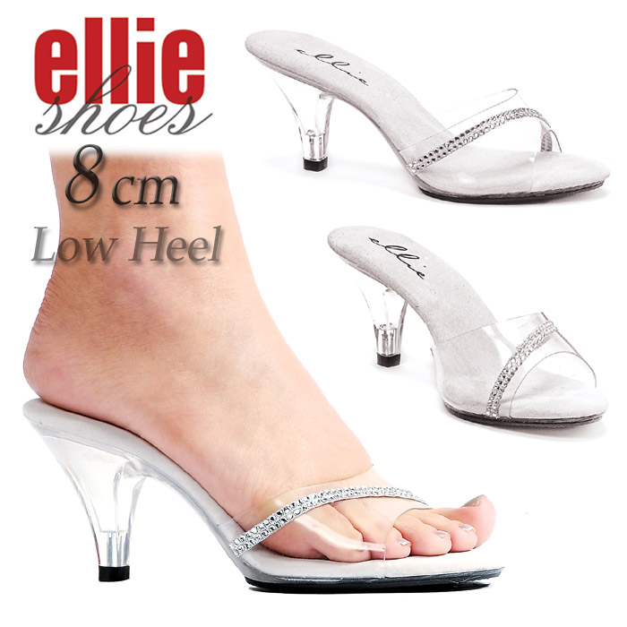 9c0444da4ee Mir low stock Ellie Shoes Ellie shoes clear mules Sandals hurt glitter  rhinestone decoration shoes women s cavalier costume large size heel height  8 cm ...