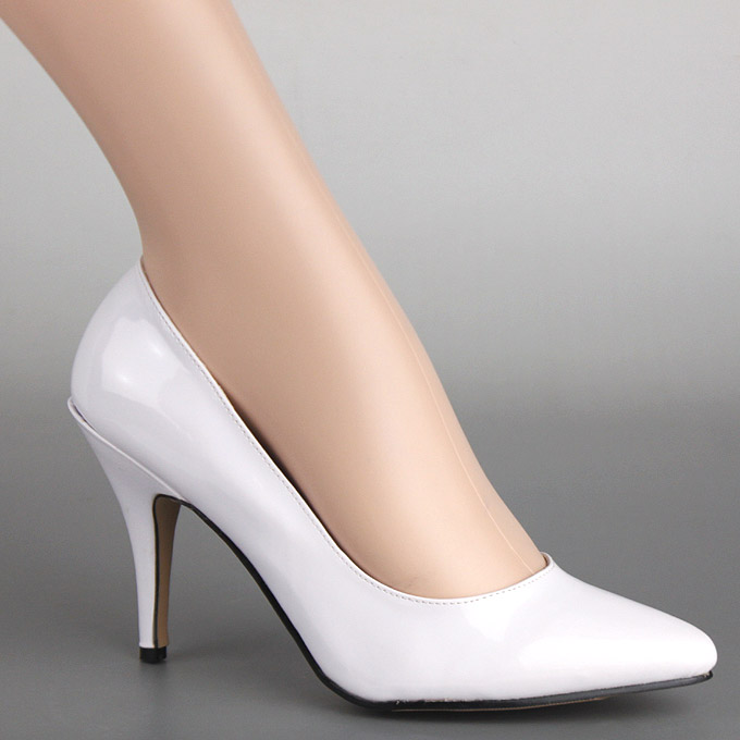 Queen Enamel Lady's Shoes Ellie Elly Pumps Delivery Big Costume White Toe Play Heeled High Pointed Small Size Immediate 9WDeE2YHI