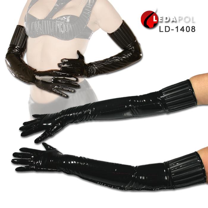 グローブ レディース 黒 ロング(ひじ上丈) 手袋 サイドジッパー(ファスナー)付き 合皮とエナメル製 光沢あり イベント 衣装 コスプレ LD-1408