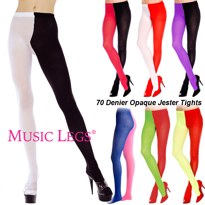 2d4a68e241ef6 Two Tone Opaque Jester Tights Pantyhose Dames: kleding Music Legs 748