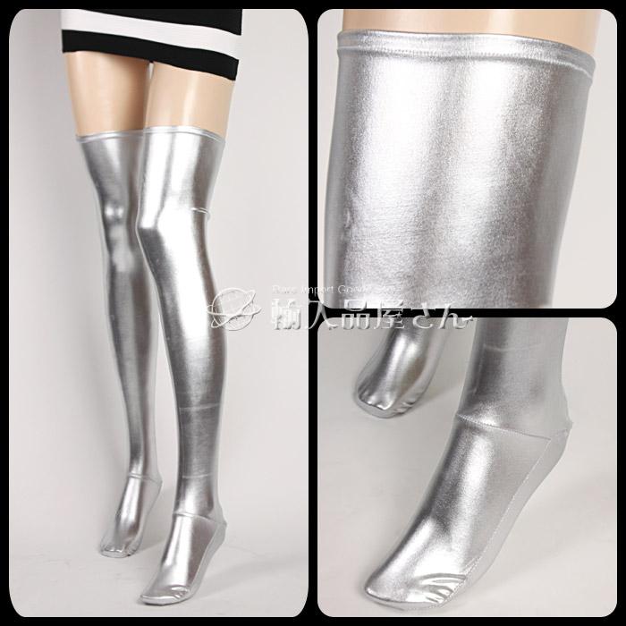 5319d629ef5 ... Instant wet look light swamp silver over knee stockings (thigh socks  over knee socks