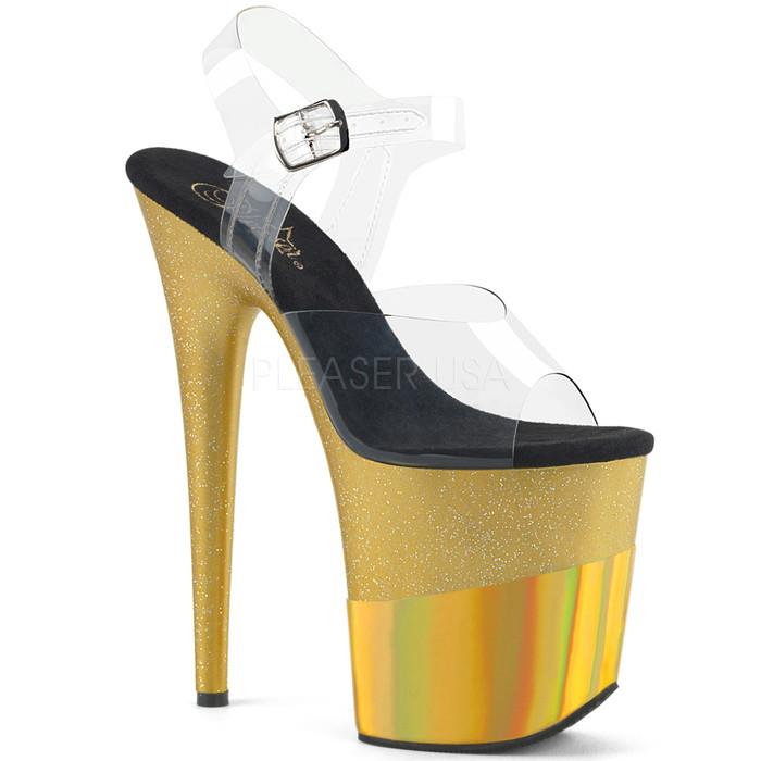送料無料 Pleaser プリーザー 取寄せ 厚底サンダル 厚底 アンクルストラップ クリアアッパー ゴールドグリッター ハイヒール レディース コスプレ 衣装 ポールダンス 靴 大きいサイズ キャバ パーティ FLAMINGO-808-2HGM FLAM808-2HGM/C/GGHG