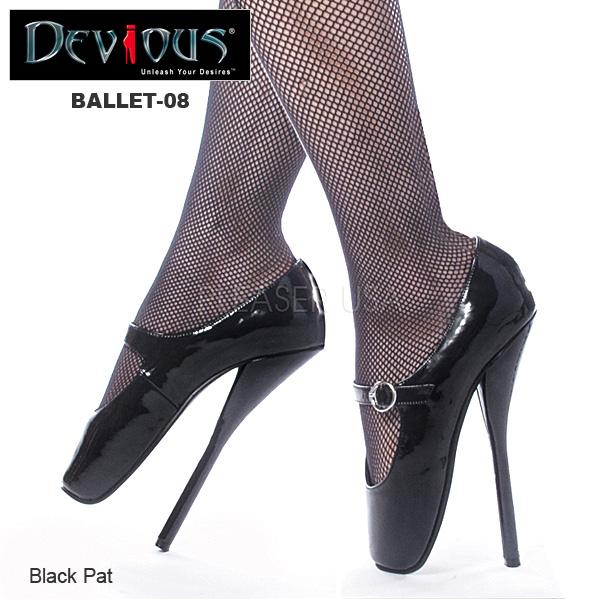 パンプス Pleaser(プリーザー) フェティッシュなつま先立ちパンプス エナメル黒 ハイヒール 美脚シューズ レディース靴 大きいサイズ 送料無料 BALLET-08 BAL08/B◆取寄せ