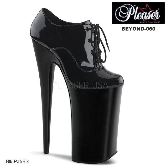 厚底 パンプス ハイヒール Pleaser(プリーザー) エナメル黒 レディース靴 送料無料 BEYOND-060 BEY060/B/M◆取寄せ
