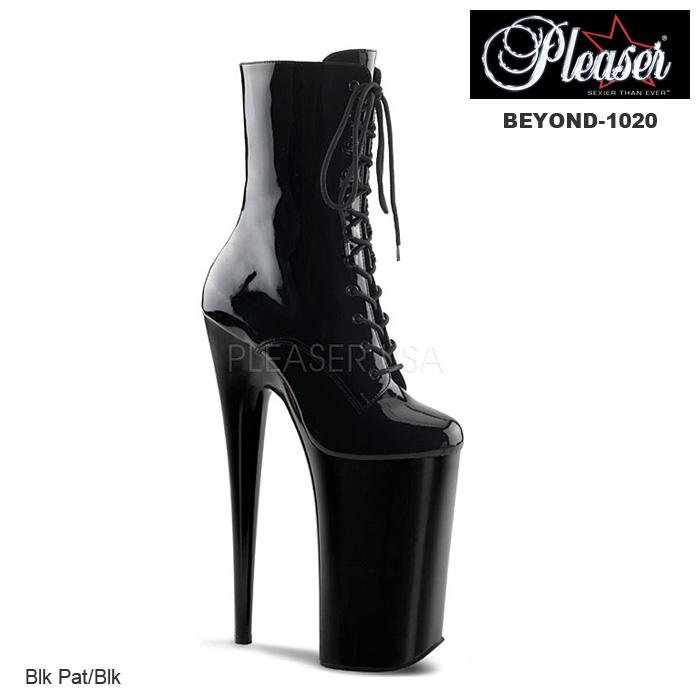 ショートブーツ 厚底 編み上げ ハイヒール Pleaser(プリーザー) アンクルブーツ エナメル黒 レディース靴 送料無料 BEYOND-1020 BEY1020/B/M◆取寄せ