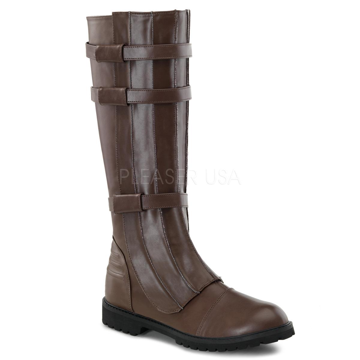 取寄せ 送料無料 Pleaser プリーザー メンズ ロングブーツ ニーハイブーツ ローヒール ブラウン スーパーヒーロー コスプレ ハロウィン バックルベルト ファスナー付き 靴 大きいサイズ WALKER-130