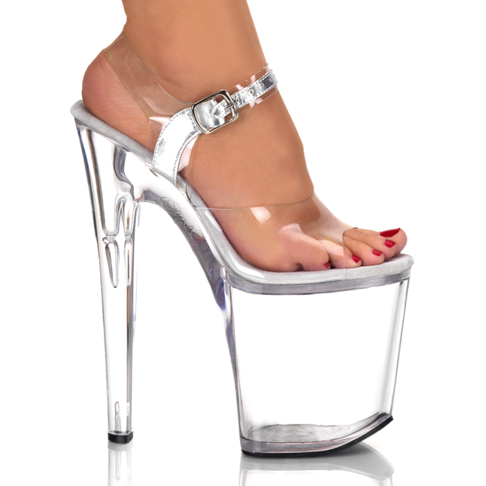 9ae3d0d4a45 Clear ankle strap super thick high-heeled sandal 20 cm pleaser (Preiser)  Cavalier clear Sandals night material / sole height 10 cm (XTREME-808-CLR)