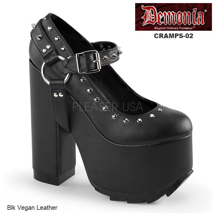 DEMONIA(デモニア) レディース厚底靴/パンプス/シューズ CRAMPS-02 つや消し黒◆取り寄せ