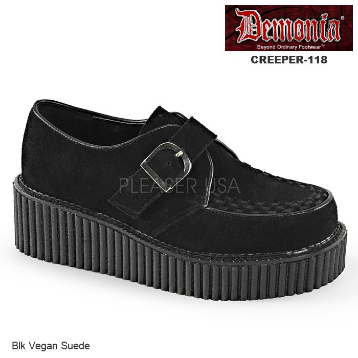 高級品 対象サイズ 23cm~26.5cm DEMONIA デモニア レディースシューズ 流行 クリーパー ブラック 取り寄せ 厚底靴 フェイクスウェード 黒 CREEPER-112