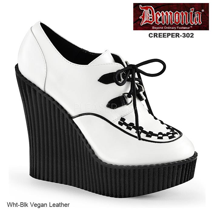 DEMONIA(デモニア) レディース ウェッジクリーパー CREEPER-302 白/黒◆取り寄せ