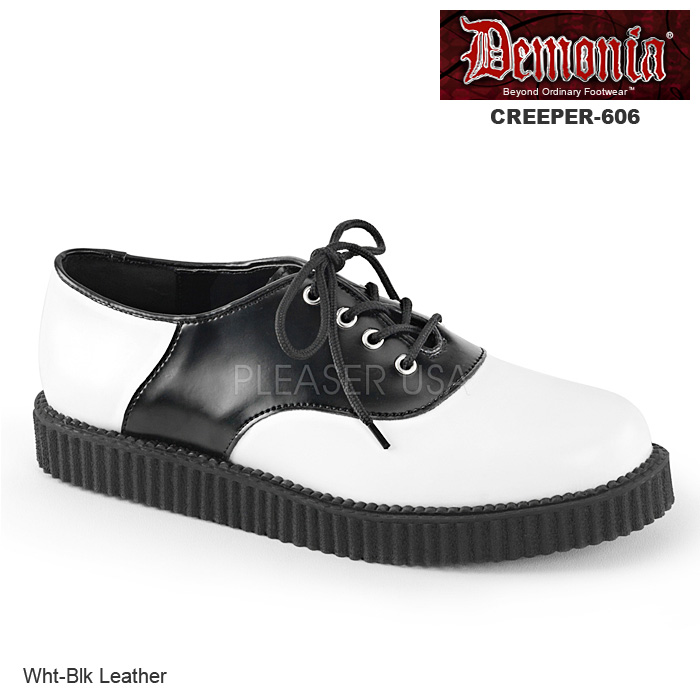 DEMONIA(デモニア) Men's/Unisex サドルシューズ 本革 CREEPER-606 白/黒◆取り寄せ