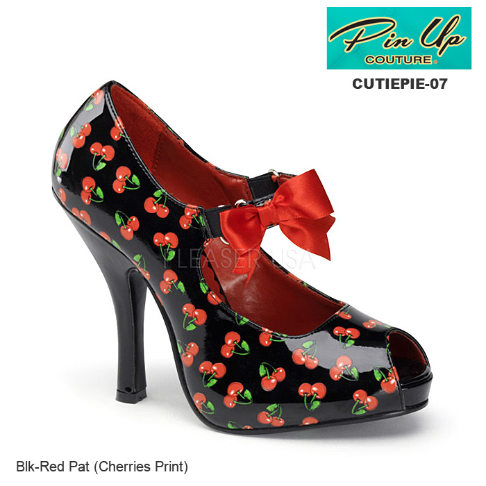 PIN UP COUTURE チェリー柄オープントゥパンプス/黒 Pleaser CUTIEPIE-07-CHERRIES-BLK◆取り寄せ