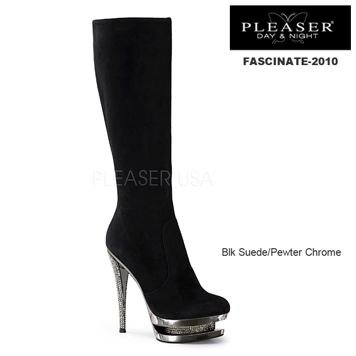 PLEASER Day & Night プリーザー/ニーハイブーツ FASCINATE-2010-BLKSUEDE ◆取り寄せ