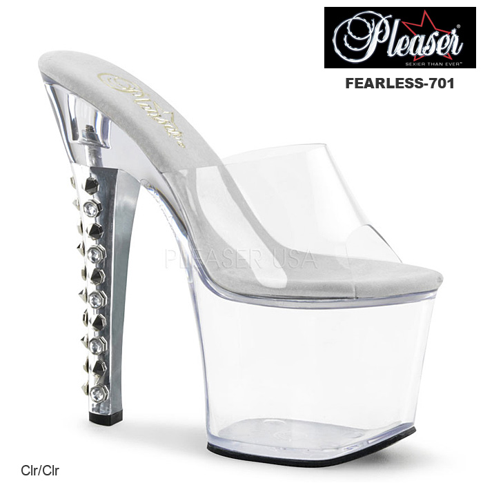 Pleaser(プリーザー) 厚底サンダル スパイク&ストーンヒール クリア FEARLESS-701◆取り寄せ