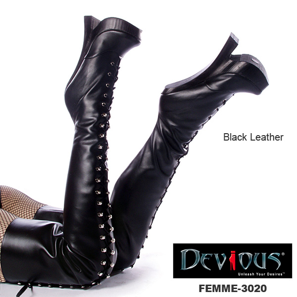 DEVIOUS 本革/フェティッシュなつま先立ちバレーブーツ/ballet boots PL-FEMME-3020-BLKLE◆取り寄せ