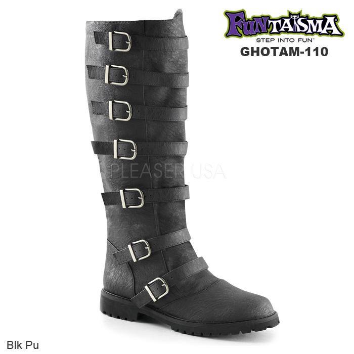 FUNTASMA (Pleaser) メンズ マルチストラップニーハイブーツ/ローヒール GOTHAM-110 黒◆取り寄せ
