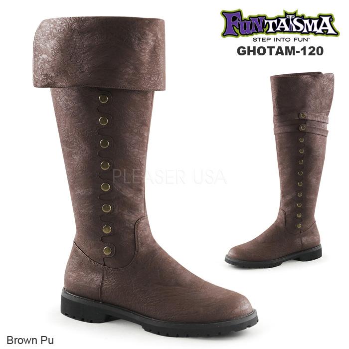 FUNTASMA (Pleaser) メンズ 折り返しロングブーツ/ローヒール GOTHAM-120 茶◆取り寄せ
