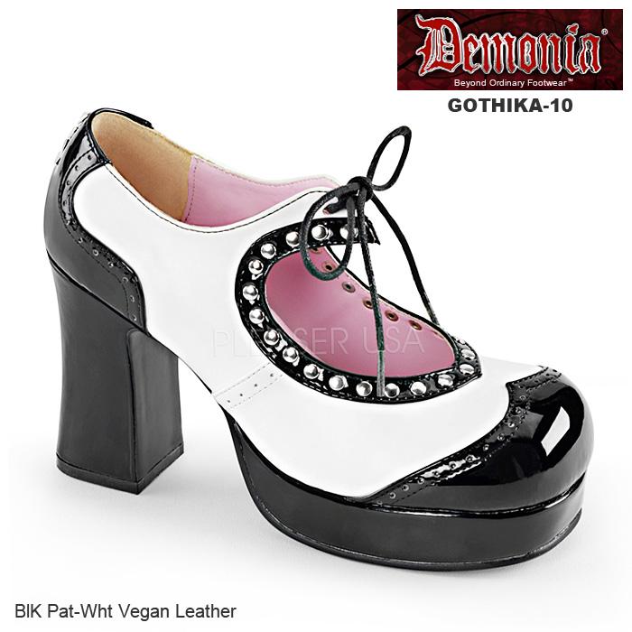 DEMONIA(デモニア) パンプス 2トーン ハート型のカットアウト GOTHIKA-10 白黒◆取り寄せ