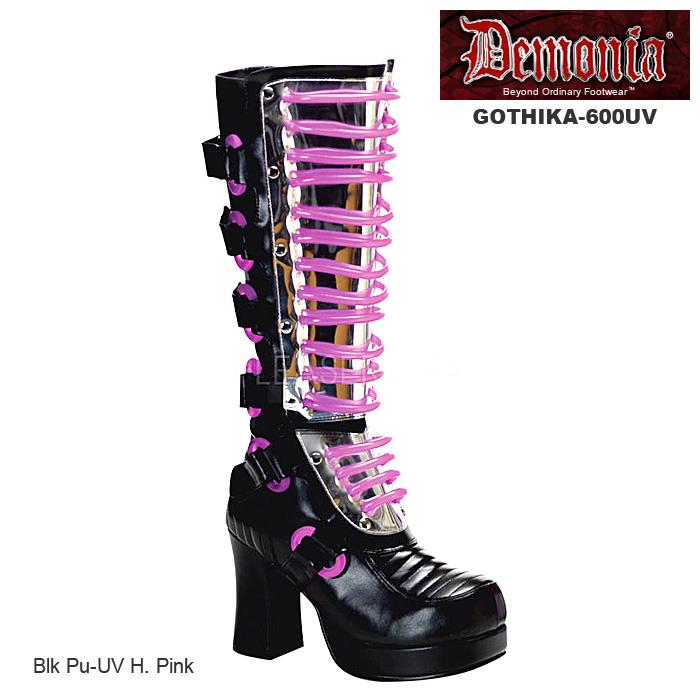 DEMONIA(デモニア) サイバーパンク系ブーツ ブラック/黒 GOTHIKA-600UV-BLK◆取り寄せ