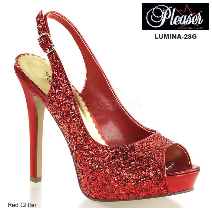 Pleaser(プリーザー) グリッター素材 サンダル LUMINA-28G レッド/赤◆取り寄せ