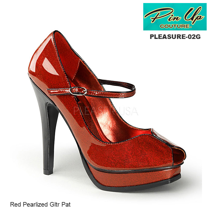 PIN UP COUTURE オープントゥパンプス ハイヒール ラメ素材 レッド/赤 プリーザー◆PLEASURE-02G-RED◆取り寄せ