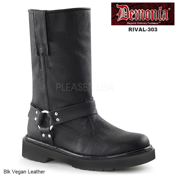 DEMONIA(デモニア) レディース リングブーツ ハーネスストラップブーツ RIVAL-303 ブラック◆取り寄せ