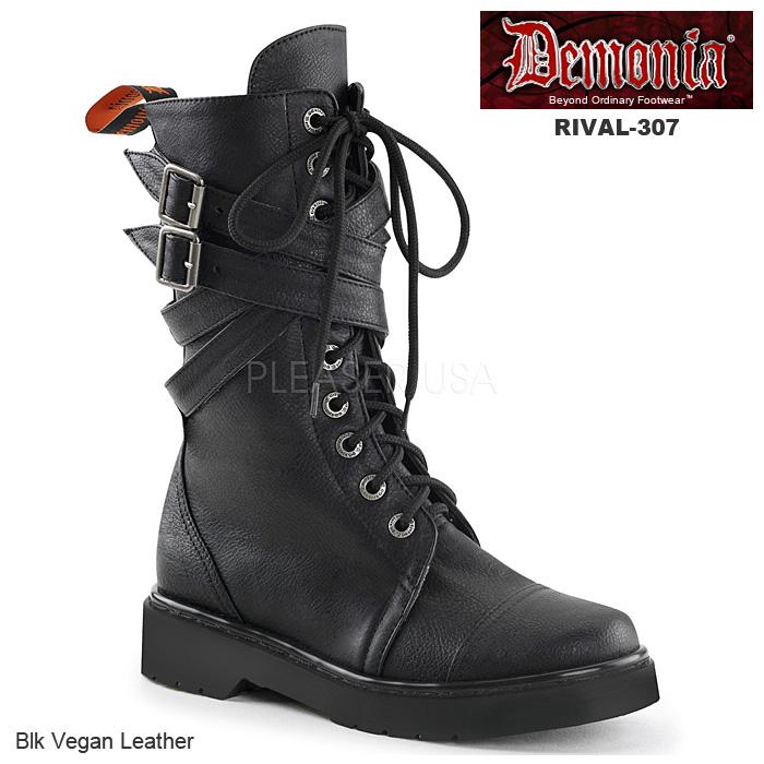 DEMONIA(デモニア) レディース 編み上げブーツ コンバットブーツ RIVAL-307 ブラック◆取り寄せ
