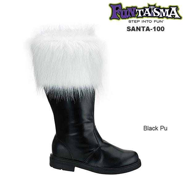 送料無料 取寄せ Pleaser プリーザー サンタ用 ロングブーツ 幅広 クリスマス コスプレ 衣装 大きいサイズ メンズに ワイド筒周り つや消し黒 ブラック 白のファー付き サイドジッパー付き 約3.5cmヒール ハロウィン SANTA-100 SAN100/B/PU