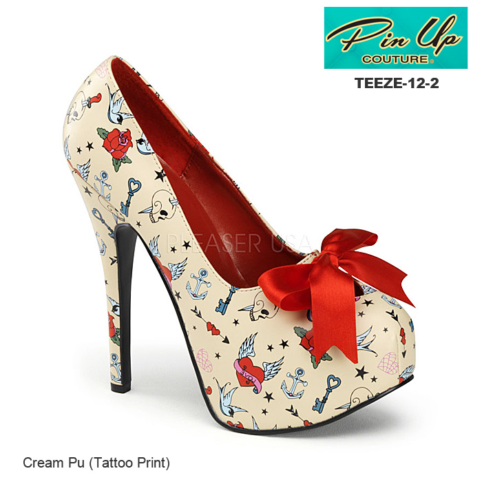 PIN UP COUTURE プリント柄ハイヒールパンプス Pleaser TEEZE-12-3◆取り寄せ