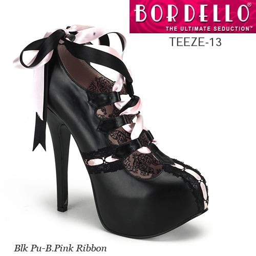 BORDELLO 2トーンレースリボン・ハイヒールパンプス PL-Teeze-13 ◆取り寄せ