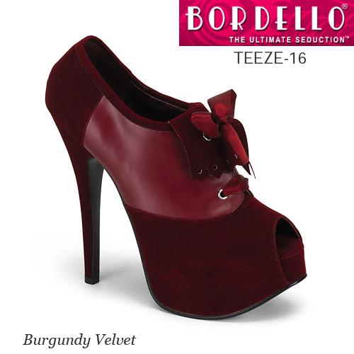 BORDELLO ベルベット&PU・2トーンハイヒールパンプス PL-Teeze-16 ◆取り寄せ