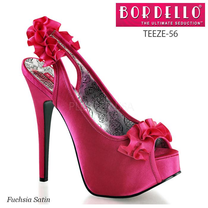 BORDELLO ピープトゥ スリングバックサンダル ハイヒール レディース フクシア(濃いピンク) TEEZE-56◆取り寄せ