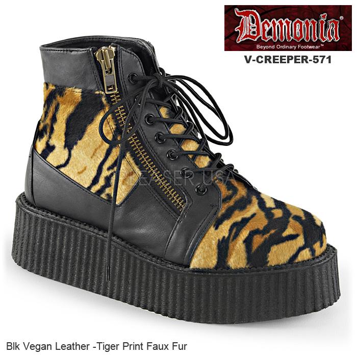 DEMONIA(デモニア) Men's/Unisex クリーパーブーティ 厚底靴 V-CREEPER-571 ブラック/タイガー 虎 トラ◆取り寄せ