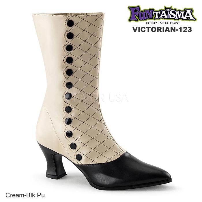 FUNTASMA (Pleaser) レディース 2トーンミッドカーフブーツ VICTORIAN-123 クリーム/黒◆取り寄せ