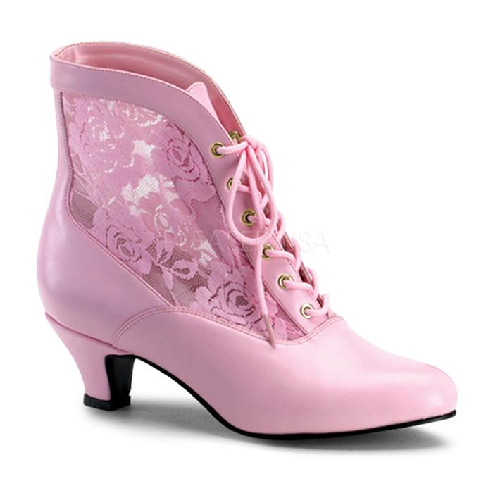 送料無料 取寄せ Pleaser プリーザー Funtasma レディース シューズ 靴 アンクルブーツ ヒール高約5.1cm ローヒール ベビーピンクと花柄レースのデザイン ピンク pink 編み上げ レースアップ 衣装 DAME-05 DAME05/BP/PU