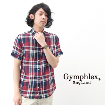 Gymphlex ジムフレックス メンズ リネンチェック B.Dシャツ[J-0937LPL]【SS】