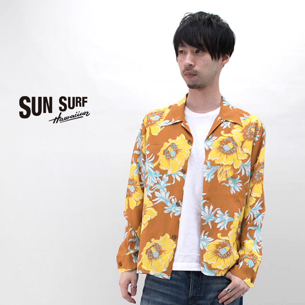 SUN SURF サンサーフ メンズ 長袖レーヨンハワイアンシャツ NIGHT BLOOMING CEREUS[SS28305]【2020SS】