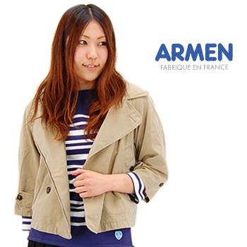 ARMEN アーメン レディース 3/4SLEEVE DOUBLE BREASTED HOODED JACKET[NMPA1301]【BASIC】