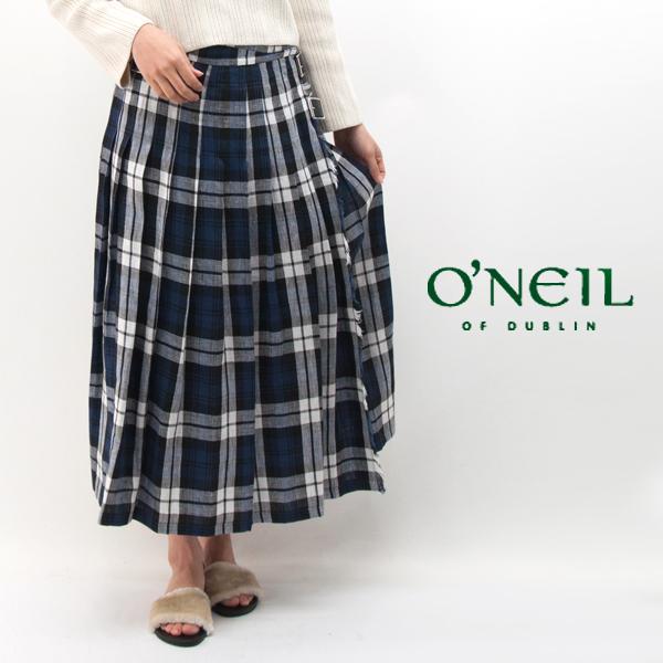 今季も再入荷 O'NEIL OF DUBLIN 上質なリネン生地を使用したラップスカート オネイル オニールオブダブリン ローウエスト NOD0901 プリーツラップスカート ギフト BASIC レディース